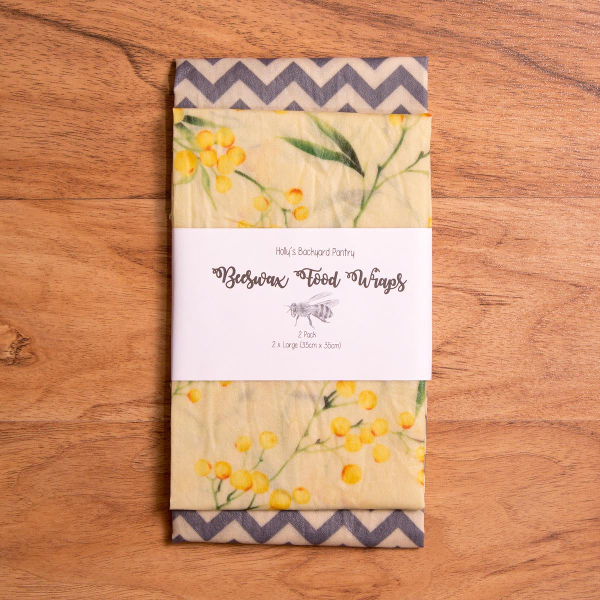 Beeswax Food Wrap - 2 Pack Large - Beeswax Wrap - Throw Some Seeds
