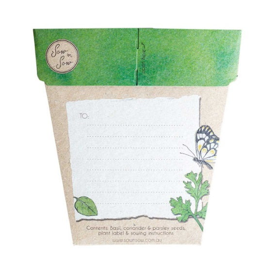 Sow 'n Sow Gift Card with Seeds - Trio of Herbs - Gift of Seeds - Throw Some Seeds - Australian gardening gifts and eco products online!