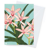 Kate Hudson Printmaker Card – Pink Orchids - Card - Throw Some Seeds - Australian gardening gifts and eco products online!