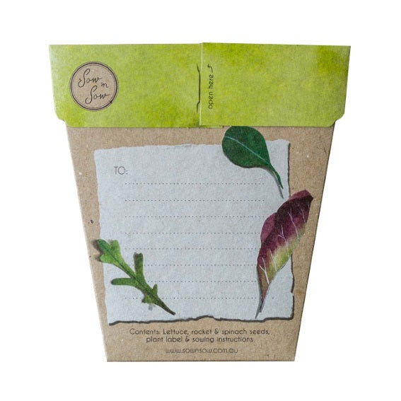 Sow 'n Sow Gift Card with Seeds - Leafy Greens - Gift of Seeds - Throw Some Seeds - Australian gardening gifts and eco products online!