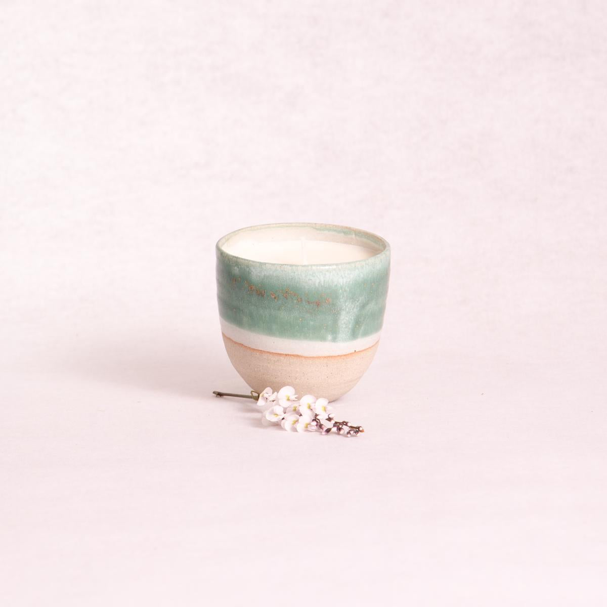 Ceramic Soy Candle - Turquoise Dip - Candle - Throw Some Seeds - Australian gardening gifts and eco products online!
