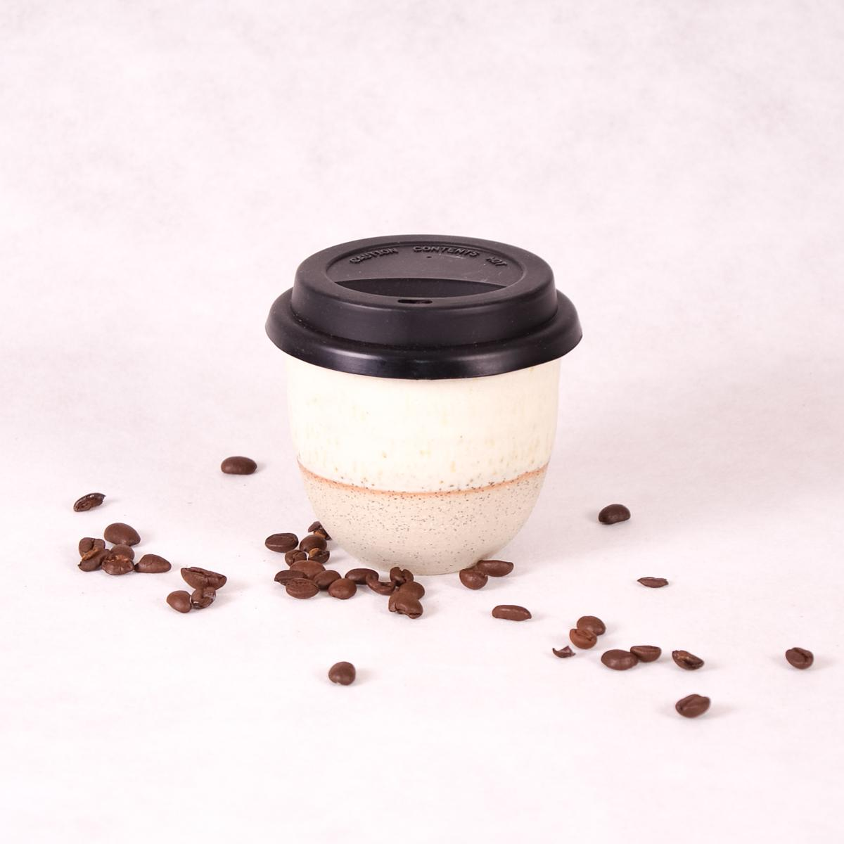 Ceramic Travel Cup Small  - Matte White Dip - Travel Cup - Throw Some Seeds - Australian gardening gifts and eco products online!