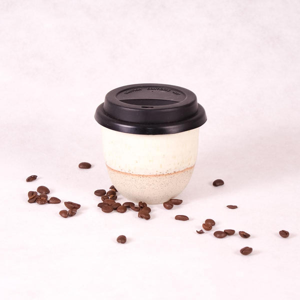 Ceramic Travel Cup - Matte White Dip - Keep Cup - Throw Some Seeds