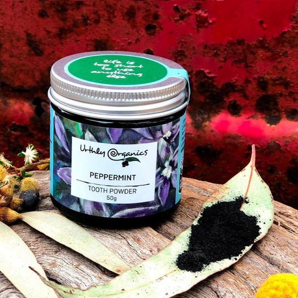 Peppermint and Activated Charcoal Toothpowder 50g - Urthly Organics - Tooth Powder - Throw Some Seeds - Australian gardening gifts and eco products online!