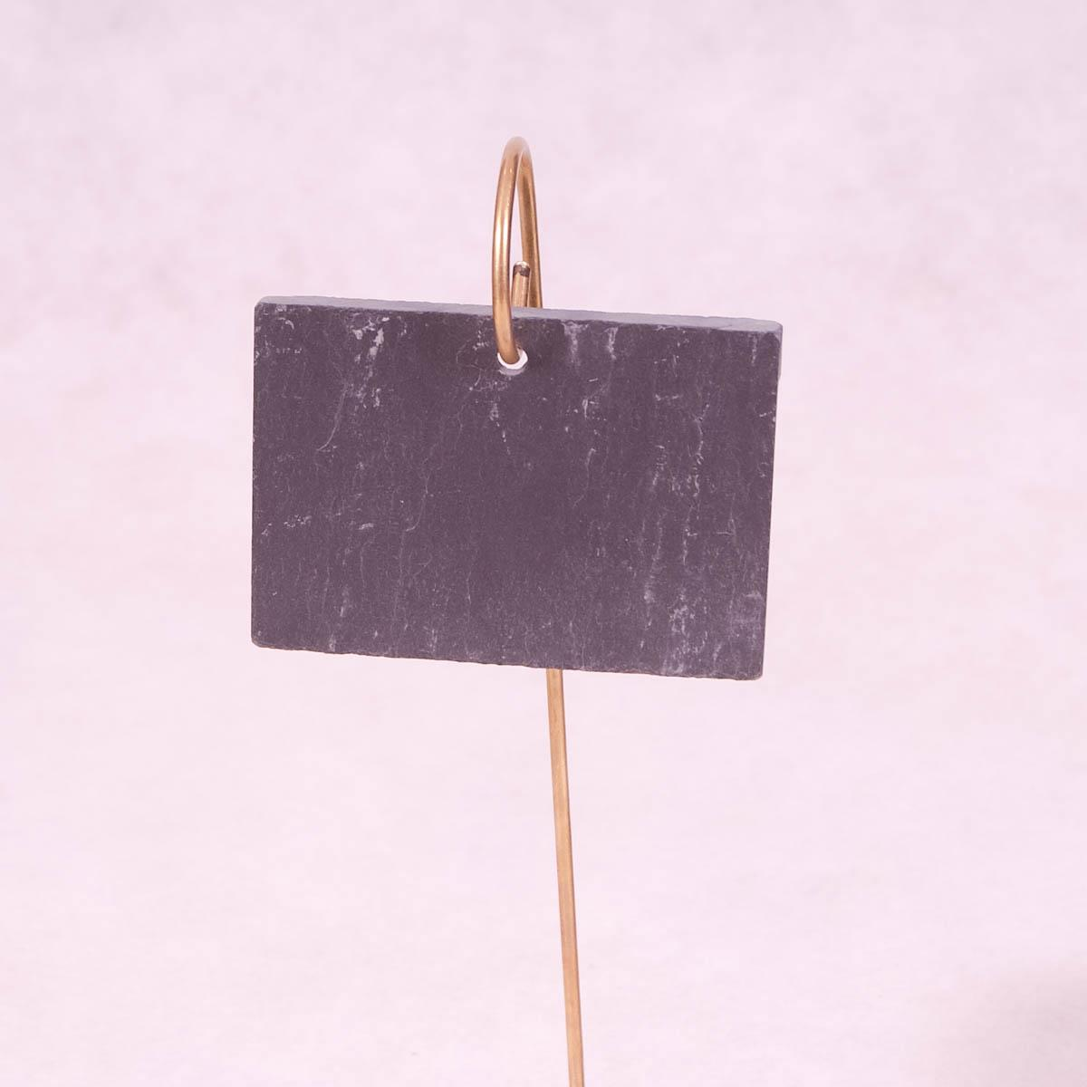 Hanging Slate Garden Label on Brass Rod