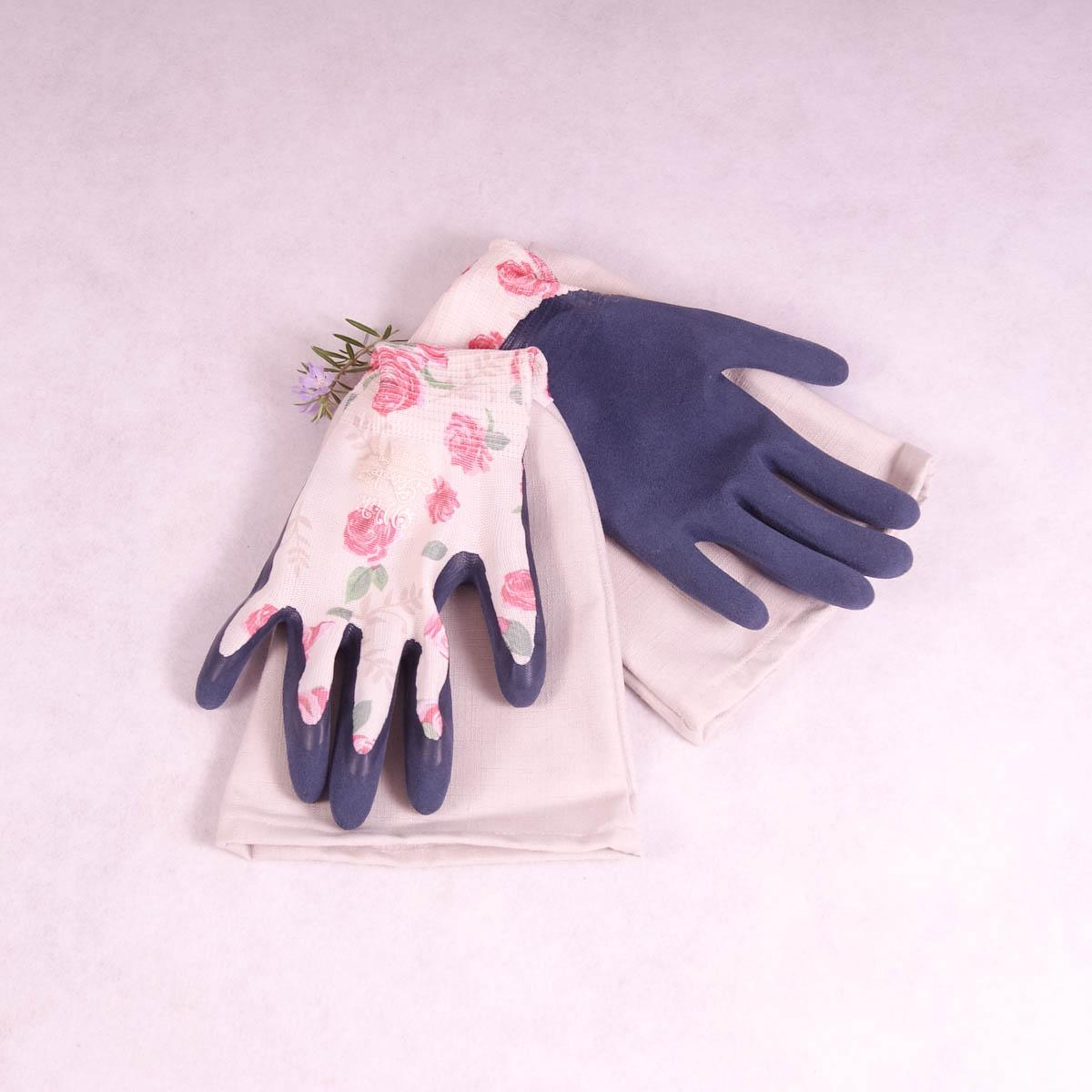 Long sleeve gardening gloves (Large) Premium Series - Rose Garden with Cream Cuff