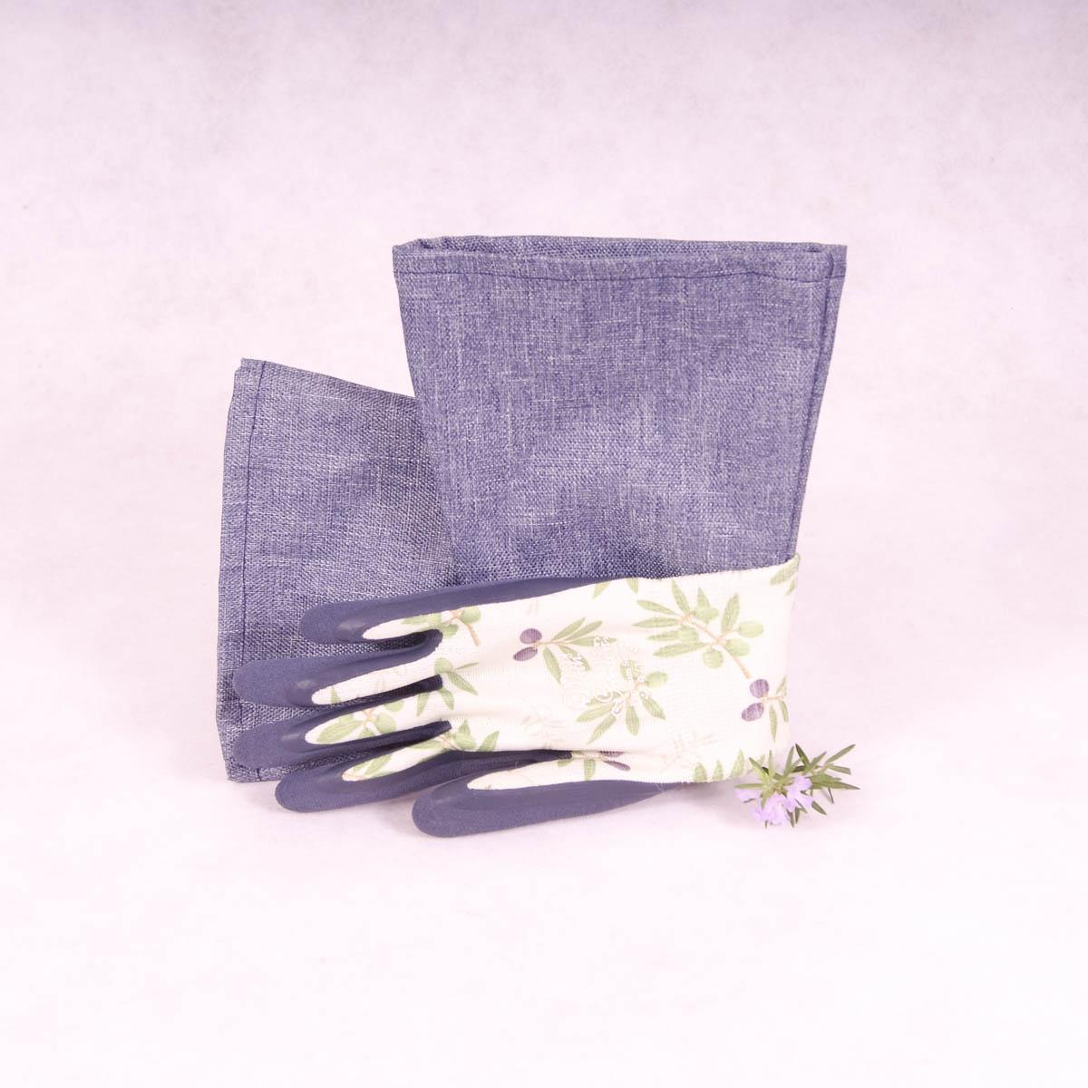Long sleeve gardening gloves (Large) Premium Series - Olive Green with Blue Cuff