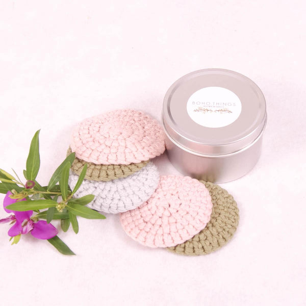 Face Scrubbies Cotton - 5 Pack with Tin - Face Scrubbie - Throw Some Seeds - Australian gardening gifts and eco products online!