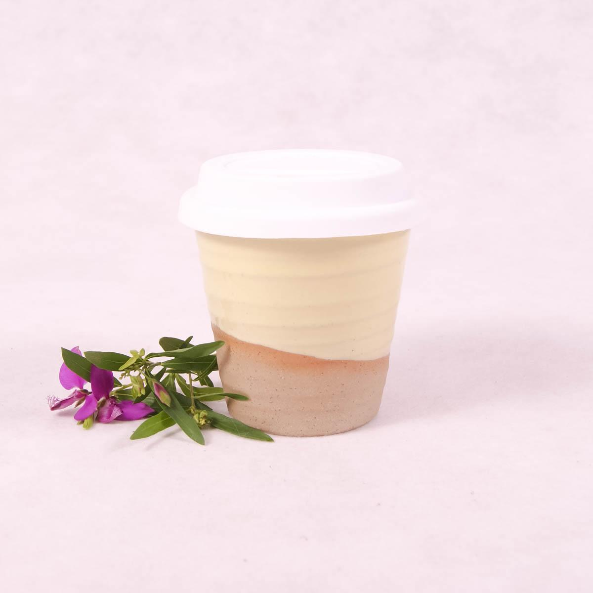 Winter Pastels Ceramic Carousel Cup Small - Lemon - Travel Cup - Throw Some Seeds - Australian gardening gifts and eco products online!