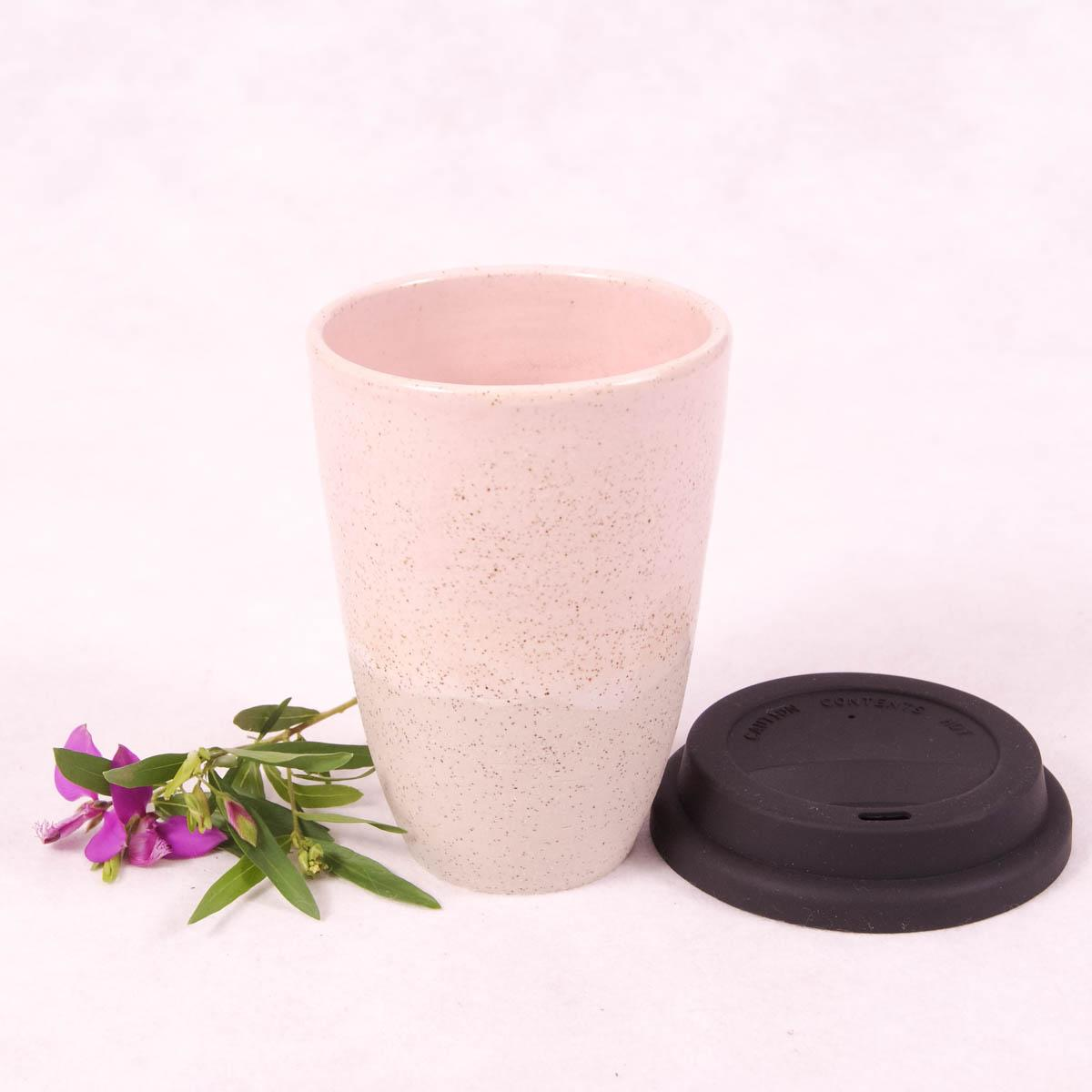 Ceramic Travel Cup Large - Fairy Floss Pink - Travel Cup - Throw Some Seeds - Australian gardening gifts and eco products online!
