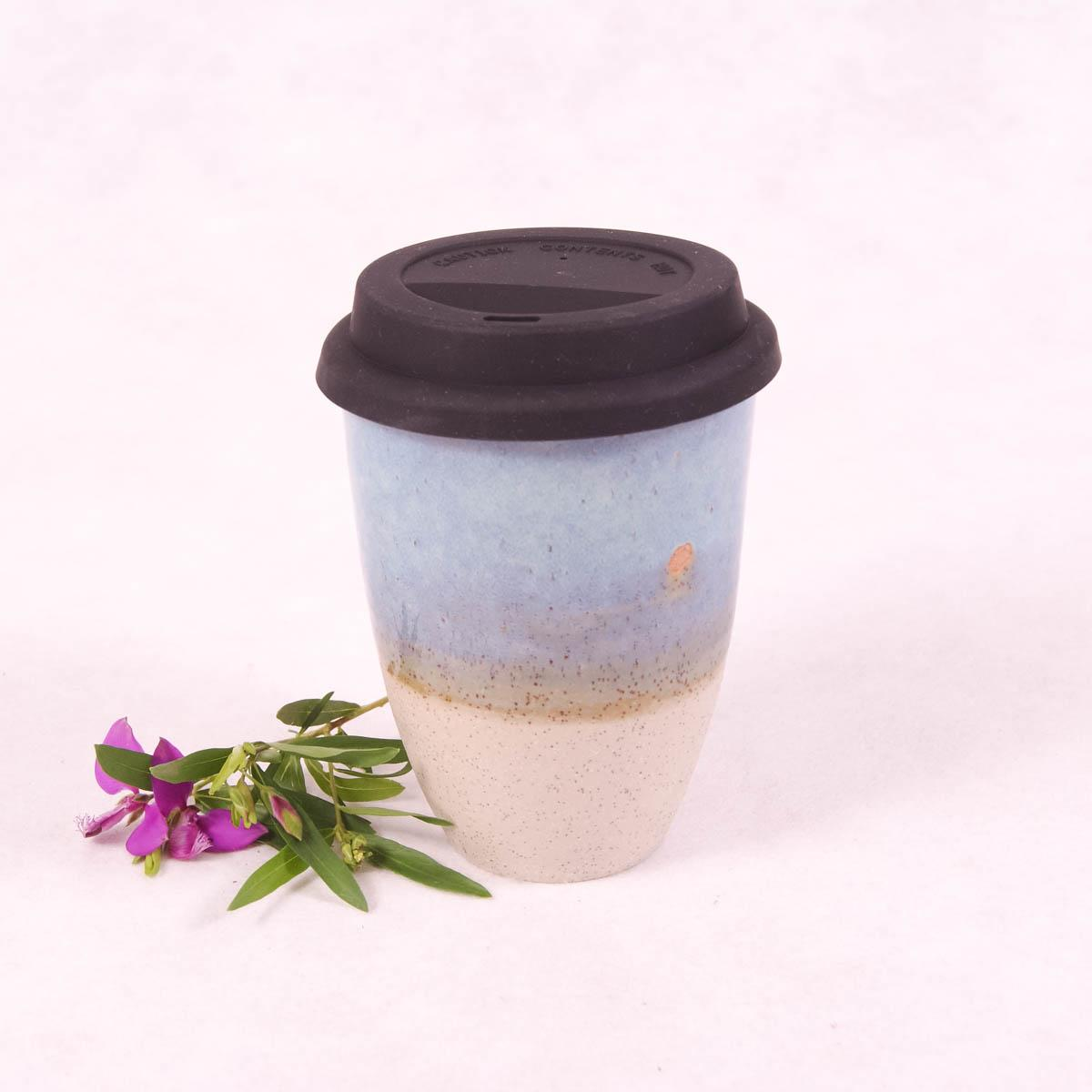 Ceramic Travel Cup Large - Ocean Blue - Travel Cup - Throw Some Seeds - Australian gardening gifts and eco products online!