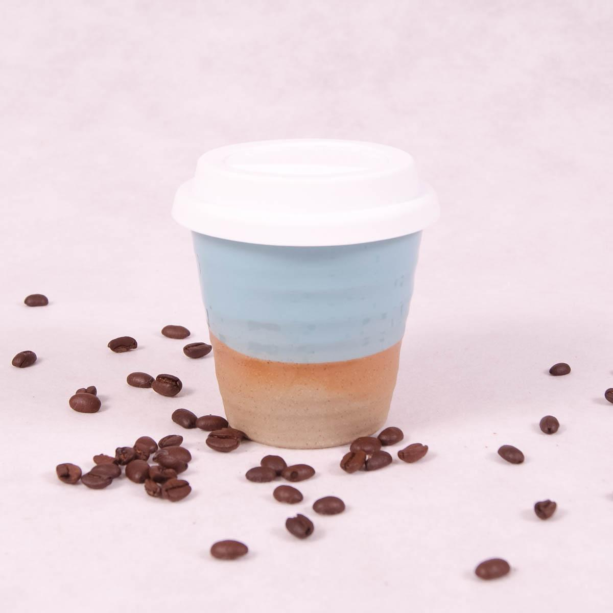 Winter Pastels Ceramic Carousel Cup Small - Turquoise - Travel Cup - Throw Some Seeds - Australian gardening gifts and eco products online!