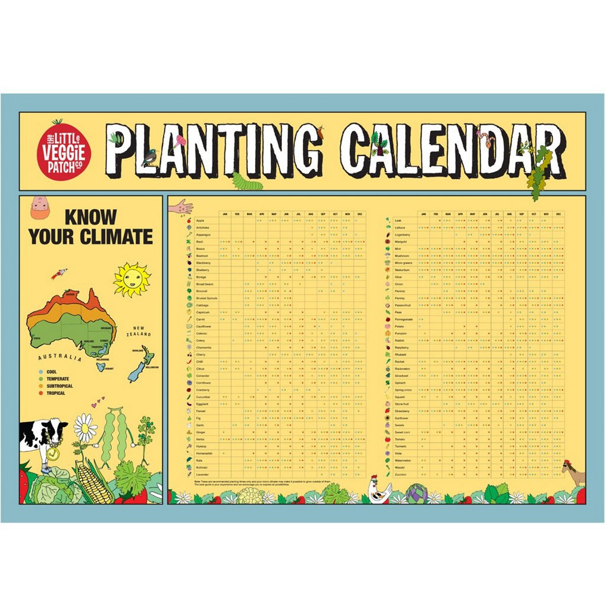 Planting Calendar - Posters - Throw Some Seeds - Australian gardening gifts and eco products online!