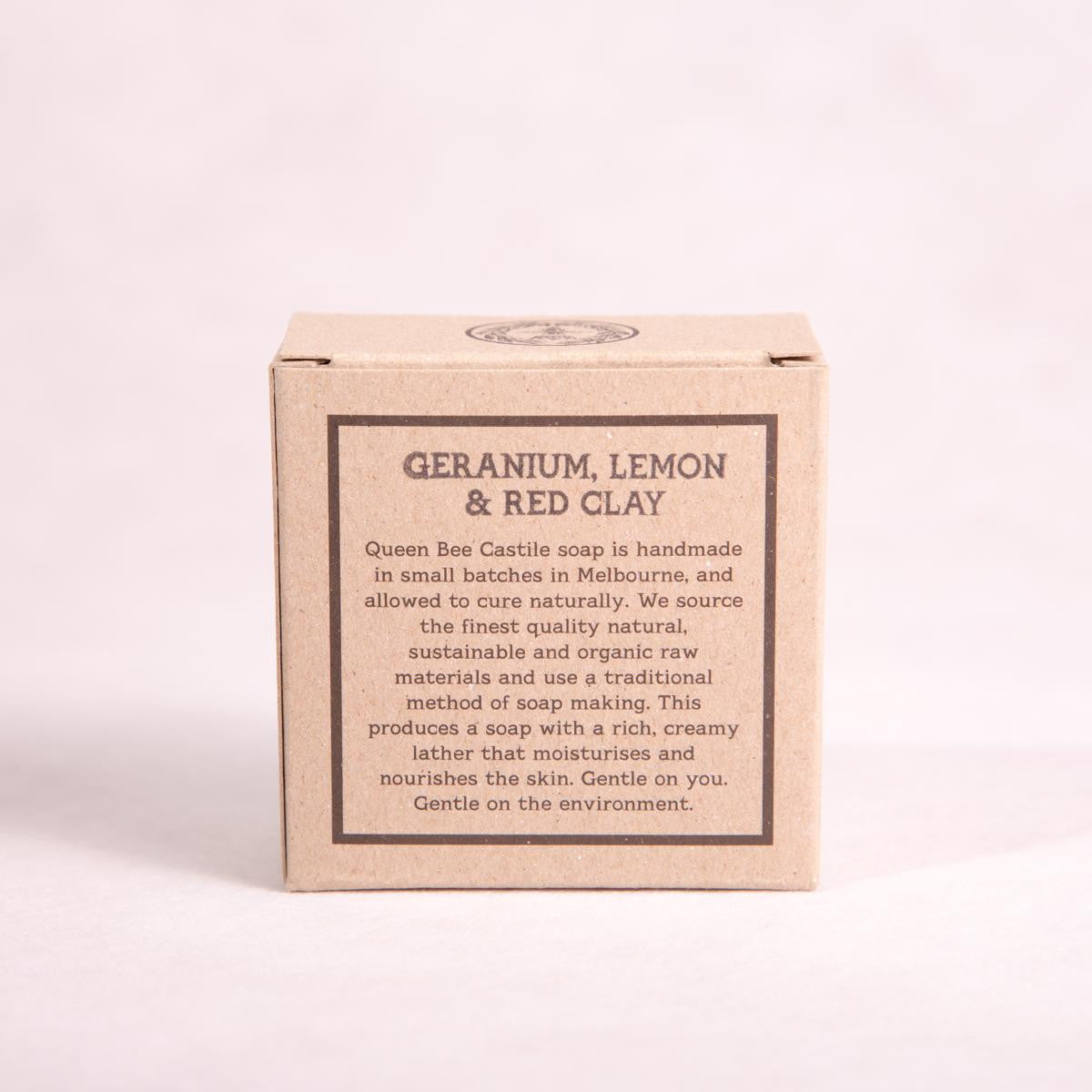 Rose Geranium, Lemon, & Red Clay Bar Soap - 135g - Bar Soap - Throw Some Seeds - Australian gardening gifts and eco products online!