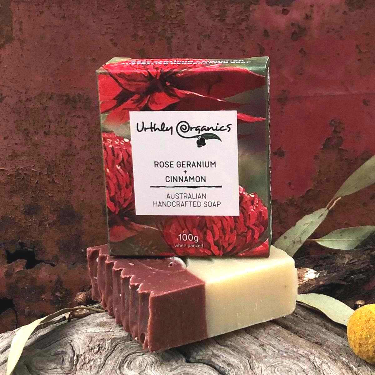 Rose Geranium and Cinnamon Soap Bar - Urthly Organics - Bar Soap - Throw Some Seeds - Australian gardening gifts and eco products online!