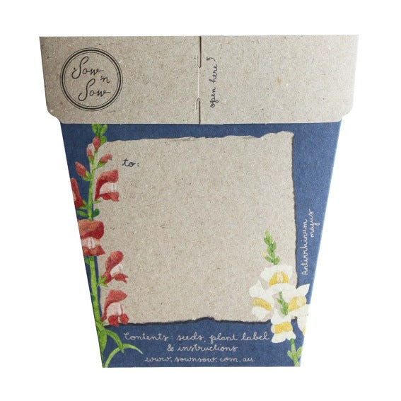 Sow 'n Sow Gift Card with Seeds - Mother's Day Snapdragons - Gift of Seeds - Throw Some Seeds - Australian gardening gifts and eco products online!