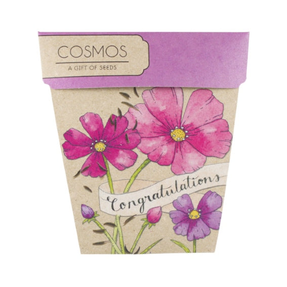 Sow 'n Sow Gift Card with Seeds - Congratulations Cosmos - Gift of Seeds - Throw Some Seeds - Australian gardening gifts and eco products online!
