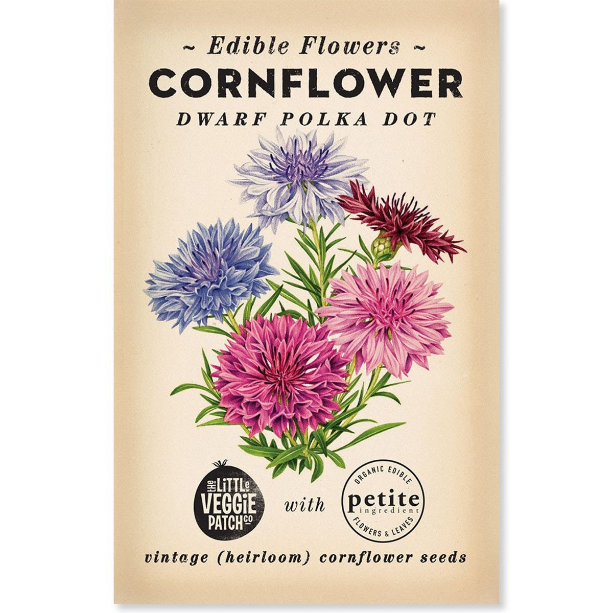 Cornflower (Dwarf Polkadot) Heirloom Seeds - Seeds - Throw Some Seeds - Australian gardening gifts and eco products online!