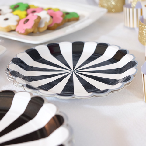 Black and White Stripe Paper Plates -
