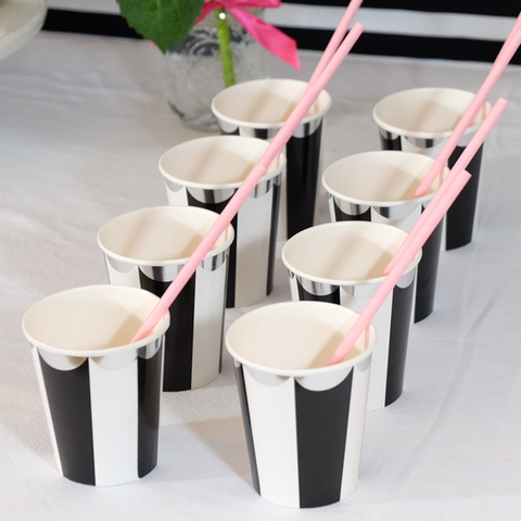 Black and White Stripe Paper Cups -  - 1