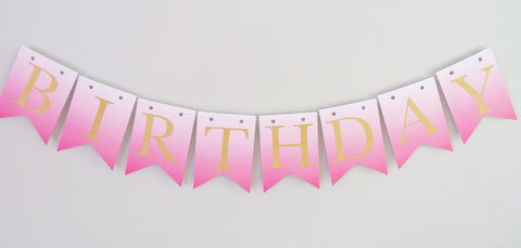Ombre Pink and Gold Happy Birthday Bunting Banner