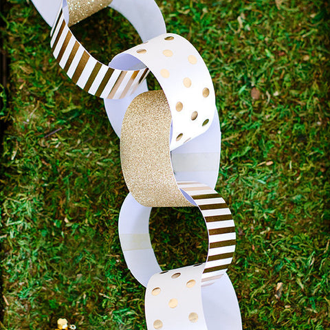 White and Gold Paper Chains -  - 1