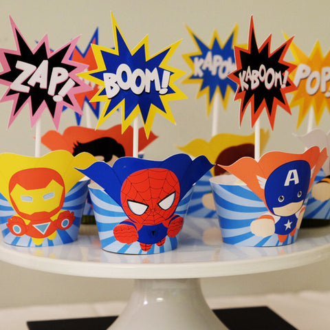 Superhero Cupcake Toppers and Wrappers -  - 1