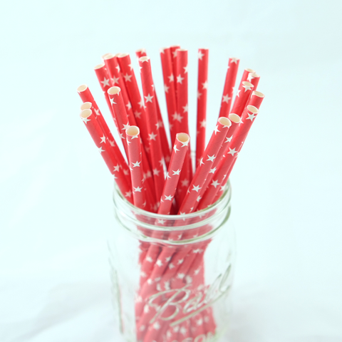 Red with White Stars Paper Straws -