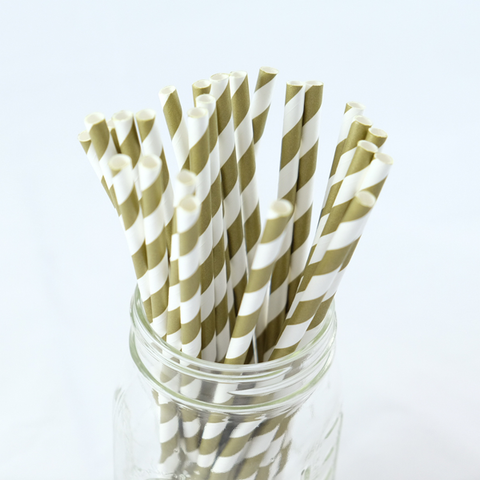 Gold Stripes Paper Straws -