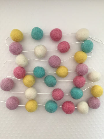 Multi Colored Felt Ball Garland