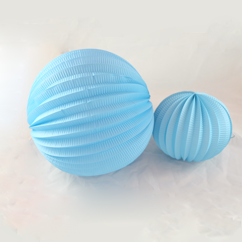 Sky Blue Accordion Pleated Paper Lanterns -