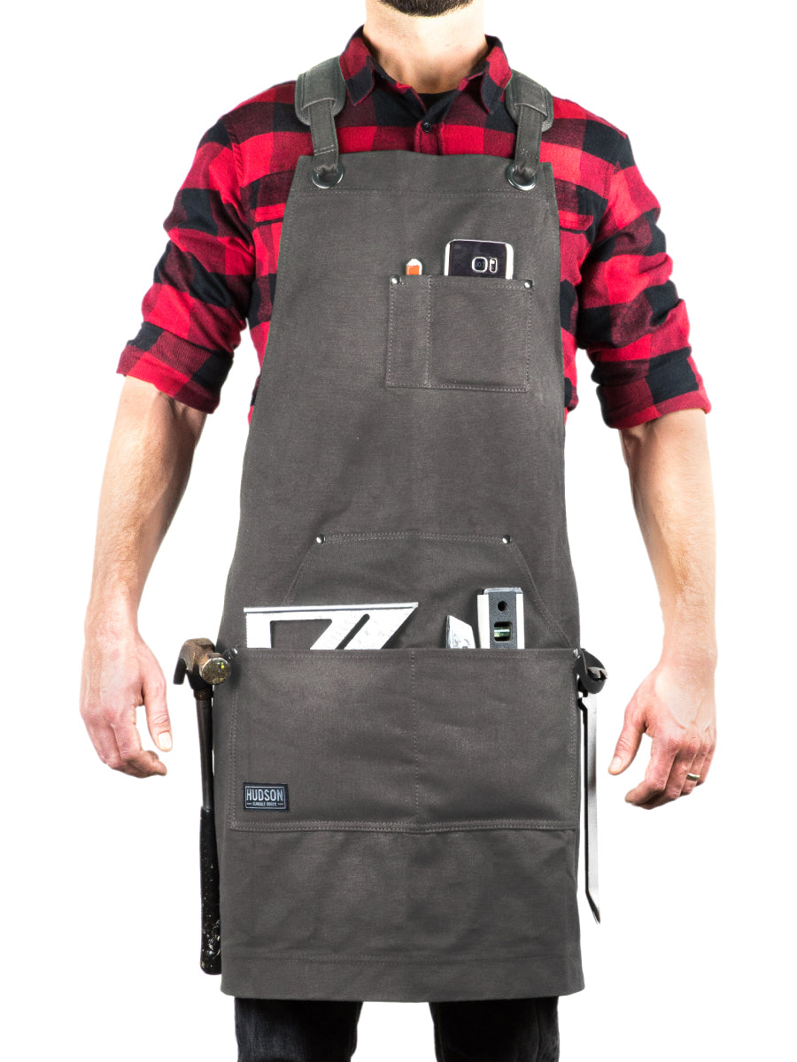 Heavy Duty 16 oz Waxed Canvas Tool Apron - DELUXE EDITION (Grey) - HDG901DG