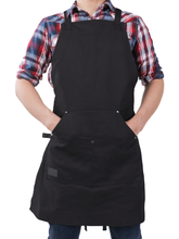 Professional Grade Chef Apron for Kitchen, BBQ, & Grill (Black) - No Top Pocket - HDG815