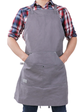 Professional Grade Chef Apron for Kitchen, BBQ, and Grill (Grey) No Top Pocket - HDG815G