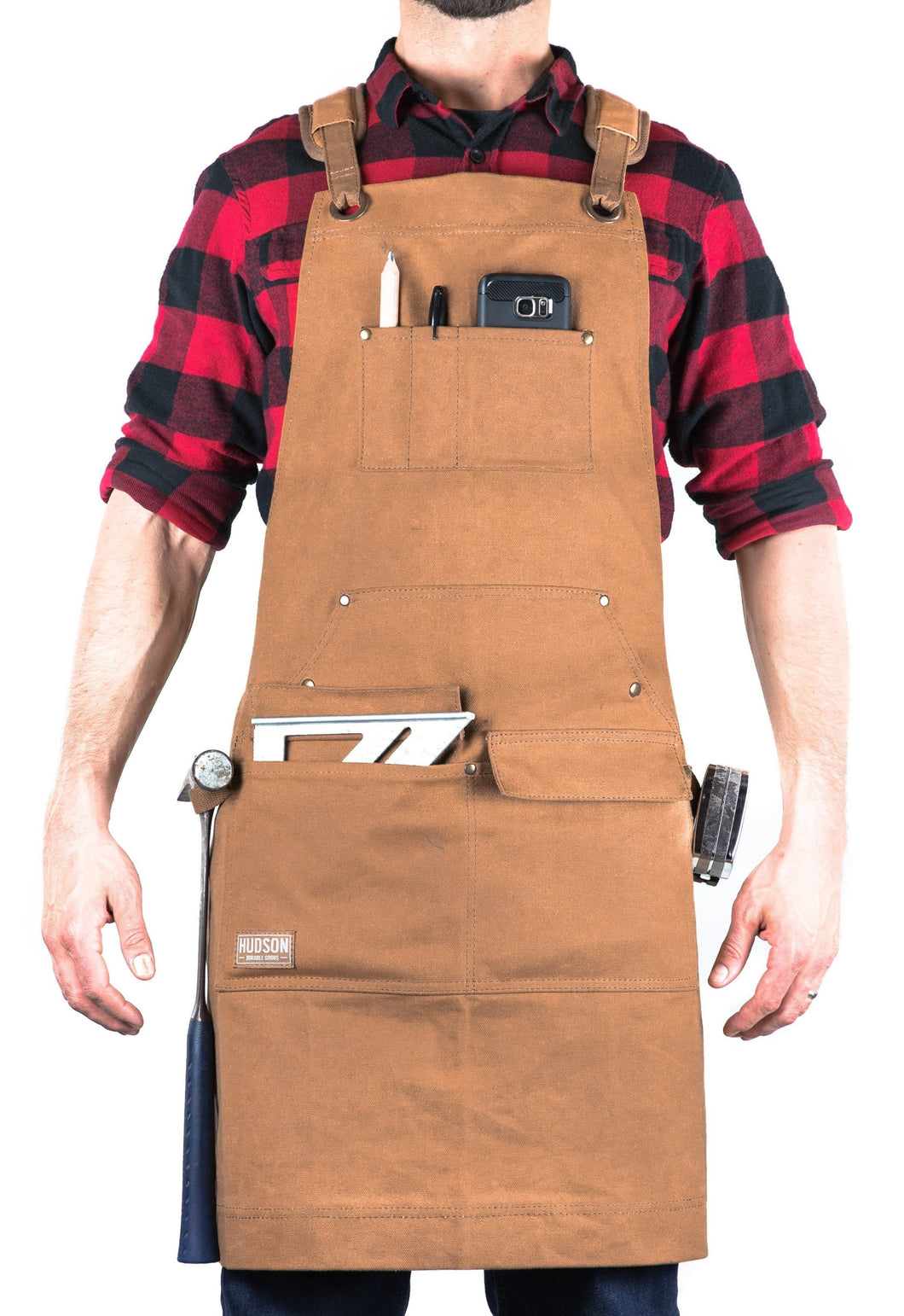 Hudson Durable Goods Woodworker Apron Waxed Canvas Shop Apron Brown