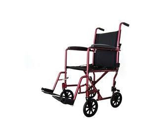 Cardinal Health Aluminum Lightweight Transport Chair, Burgundy - Patient Pharmacy