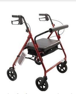 "Roscoe Medical Bariatric Rollator with Padded Seat Burgundy 28"" W, 18"" W x 13-1/2"" D Seat - Patient Pharmacy"