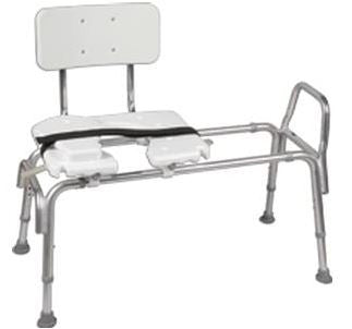 """Mabis DMI Heavy-Duty Sliding Transfer Bench with Cut-Out Seat,  Height Adjusts: 19"""" to 23"""" In 1"""" Increments, Weight Capacity: 400 lb"" - Patient Pharmacy"