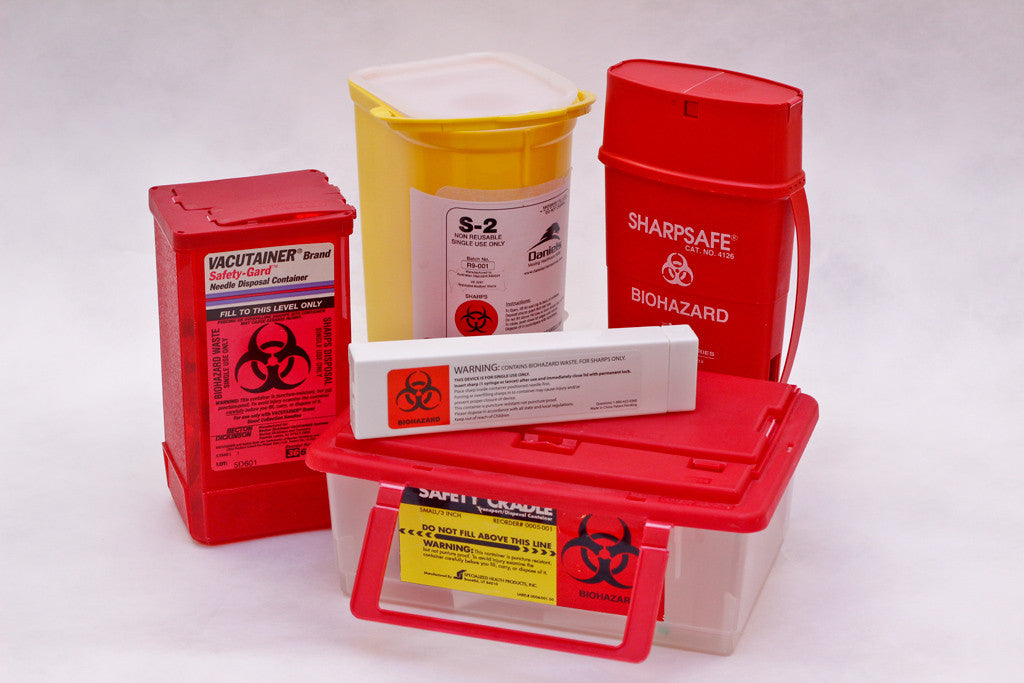 Biohazard sharps containers