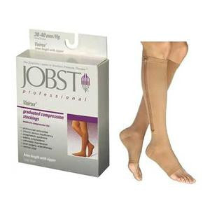 BSN Jobst® Unisex Vairox® Knee-High Zippered Compression Stockings, Open Toe, Beige (Pair)