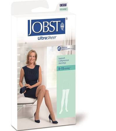 BSN Jobst® Women's UltraSheer Supportwear Thigh-High Mild Compression Stockings with Lace Silicone Band, Closed Toe, Silky Beige (Pair)