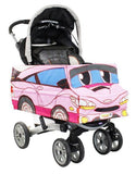 Side View - Pink Race Car Stroller Cover Accessory