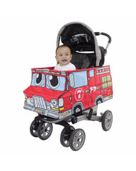 Baby in Red Fire Truck Stroller Costume