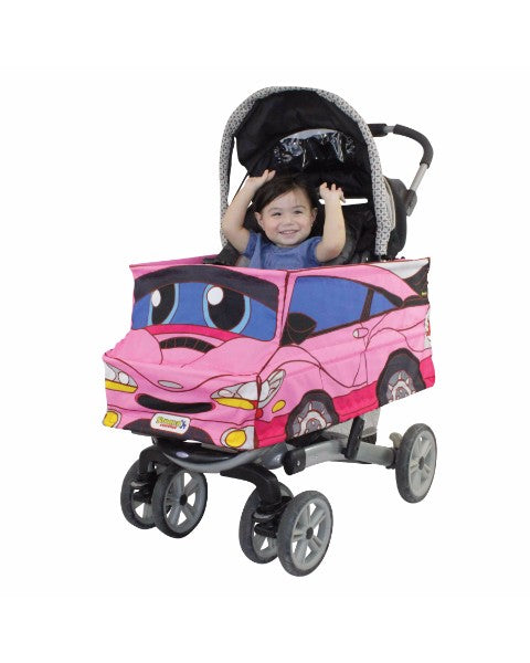 Baby in Pink Race Car Stroller Cover  Accessory