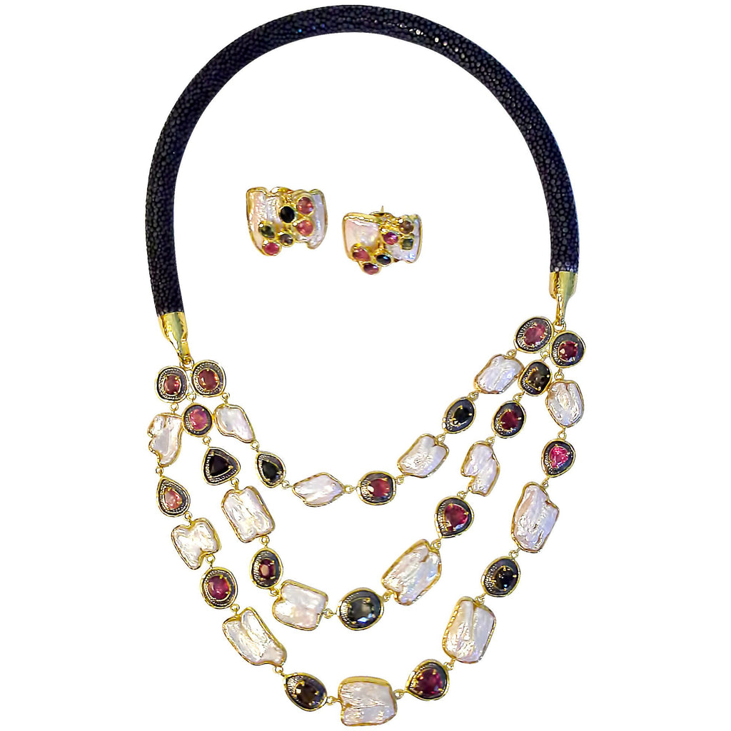 3 Strands of Bezel Set Tourmalines and Pearls with Stingray Collar Necklace