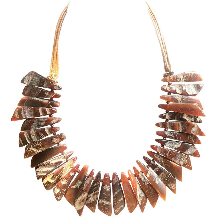 Walk on the Wild Side! Rough cut Buffalo horn necklace