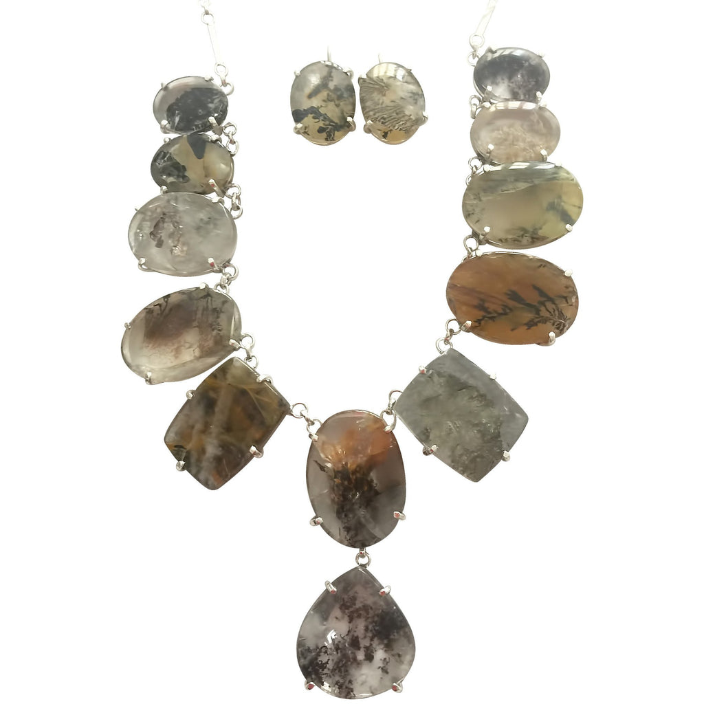 Multi Stone Brazilian Dendritic Quartz Necklace