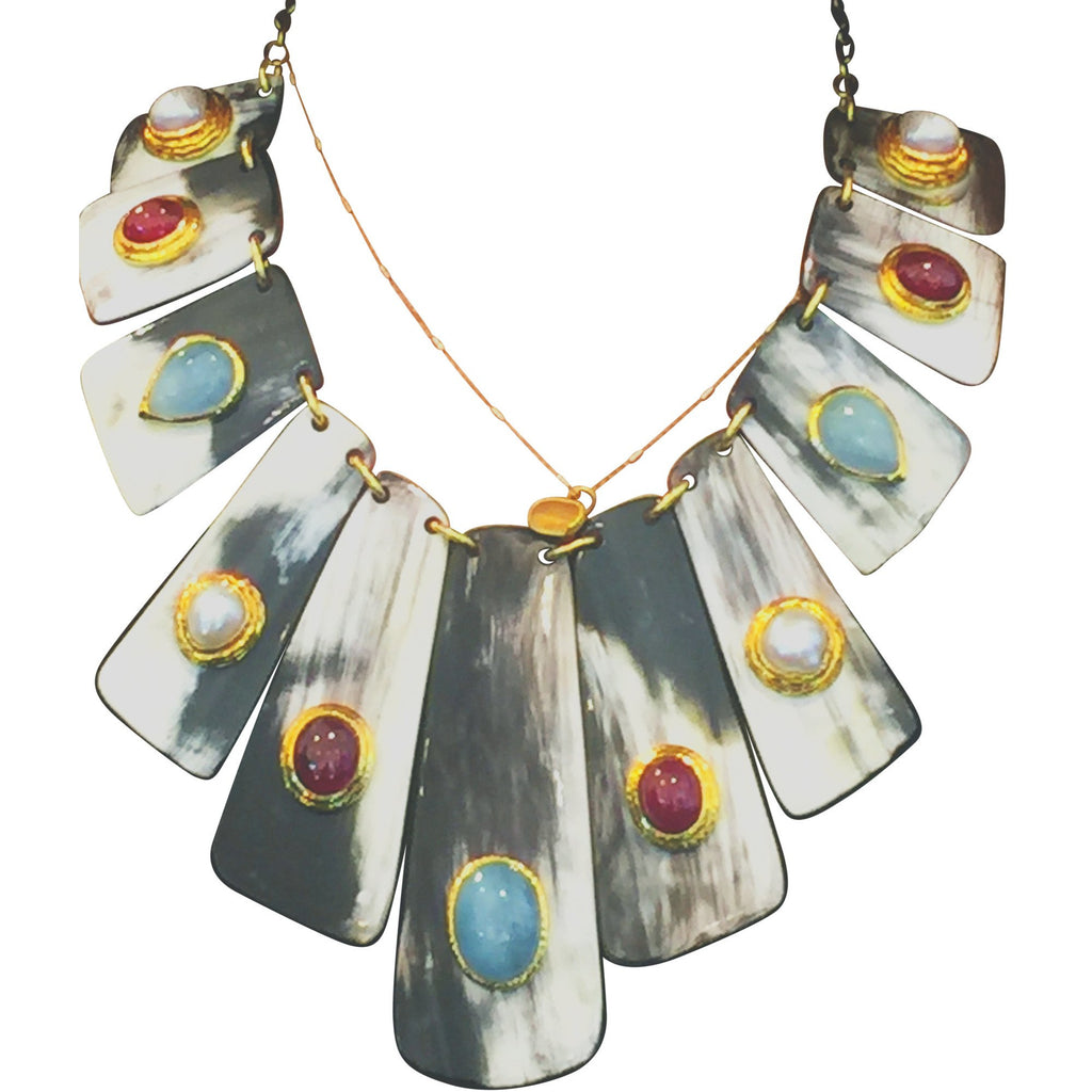 One of a kind Buffalo Horn Slice necklace with inlaid gemstones