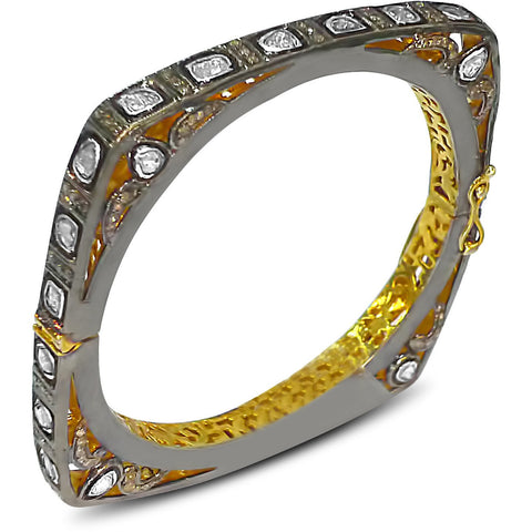 Squared Off Rose Cut Diamond Bangle