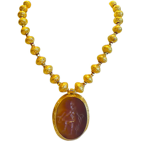 Wear a Piece of History! Golden wax beads with carved carnelian stamp pendant